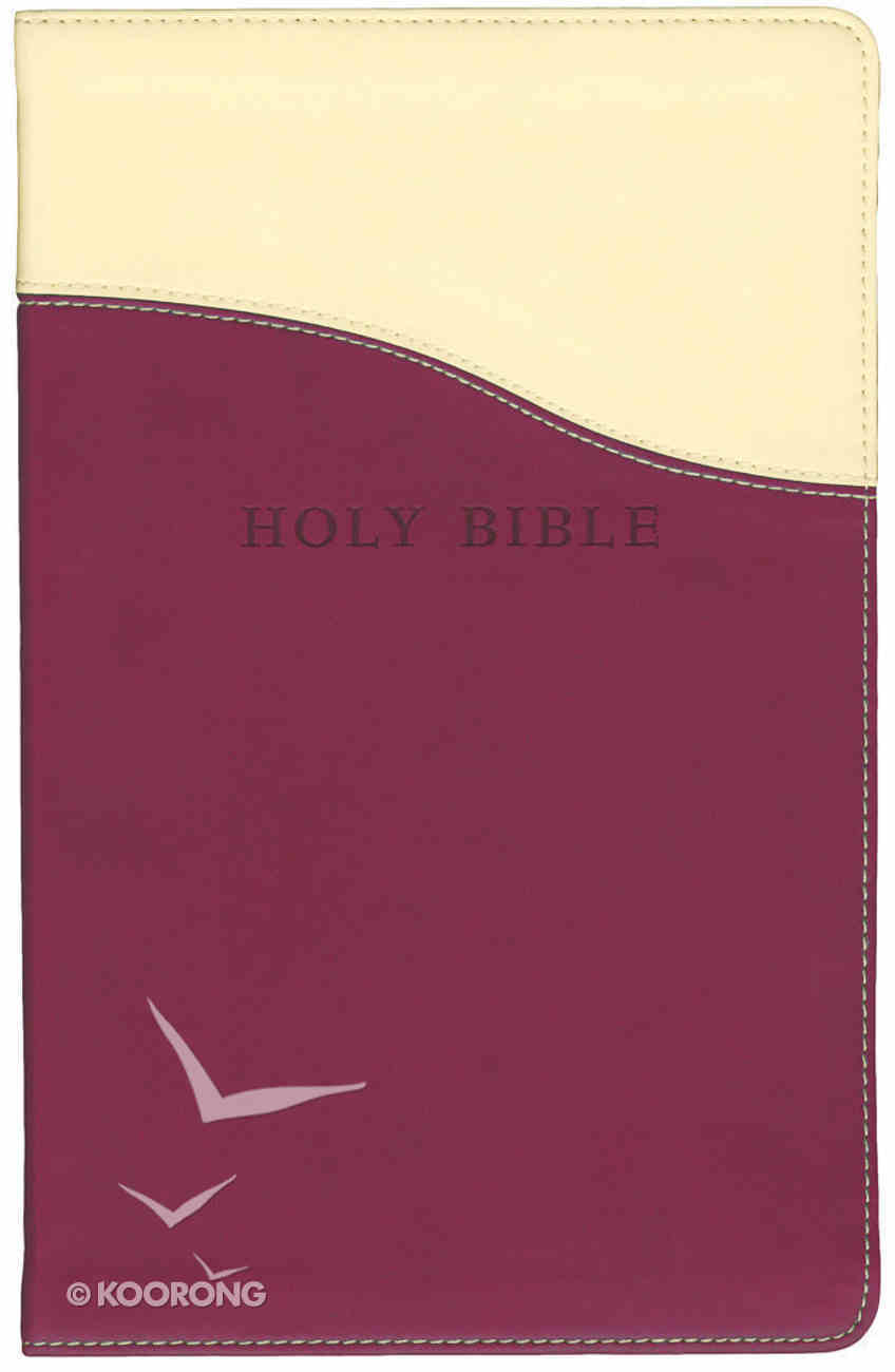 KJV Personal Size Giant Print Reference Bible Cream/Raspberry Flixisoft Imitation Leather