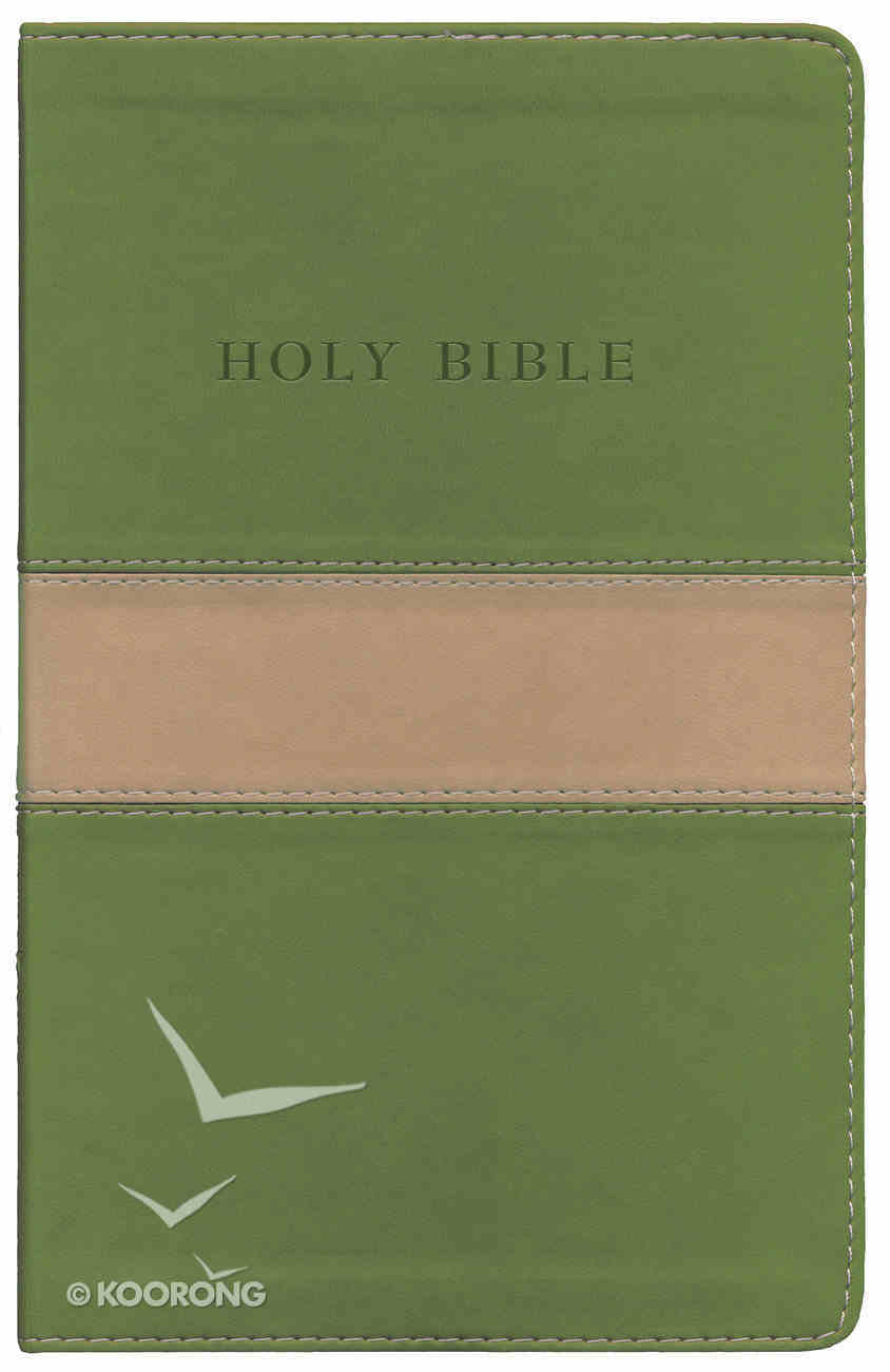 KJV Personal Size Giant Print Reference Bible Tan/Olive Imitation Leather