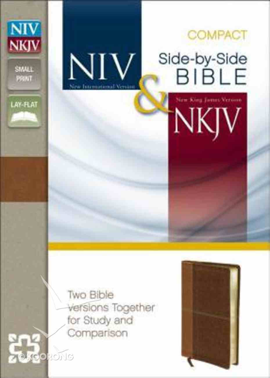 Niv/Nkjv Side-By-Side Bible Compact Caramel/Dark Caramel (Black Letter Edition) Premium Imitation Leather