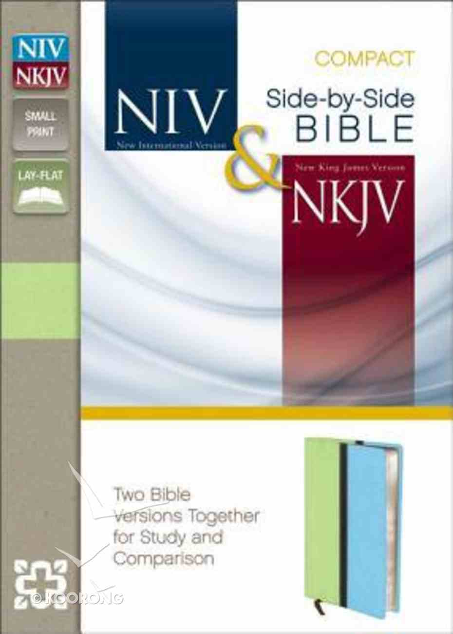 Niv/Nkjv Side-By-Side Bible Compact Melon Green/Turquoise (Black Letter Edition) Premium Imitation Leather