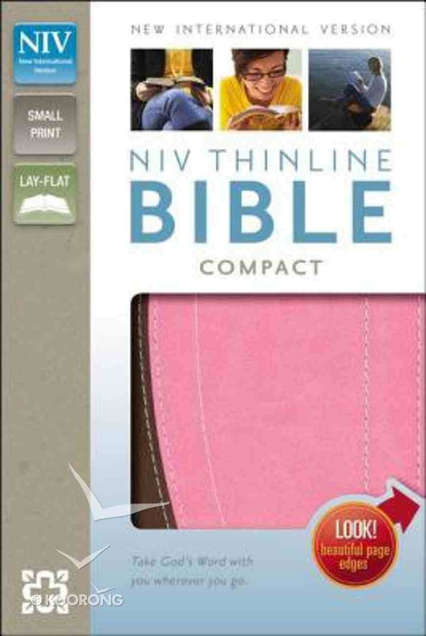 NIV Thinline Compact Bible Italian Duo-Tone Chocolate/Pink (Red Letter Edition) Imitation Leather