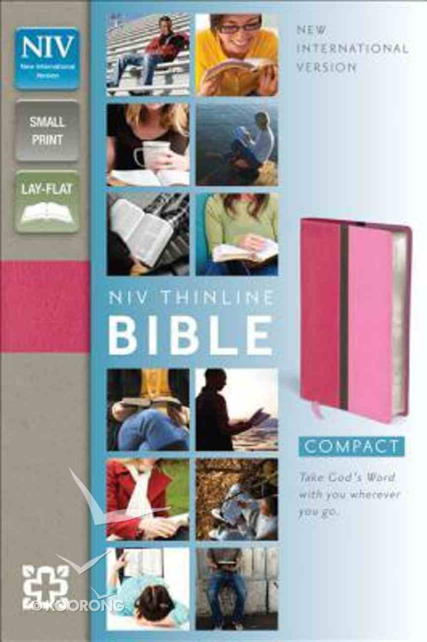 NIV Compact Thinline Bible Hot Pink/Bubble Gum Duo-Tone (Red Letter Edition) Imitation Leather