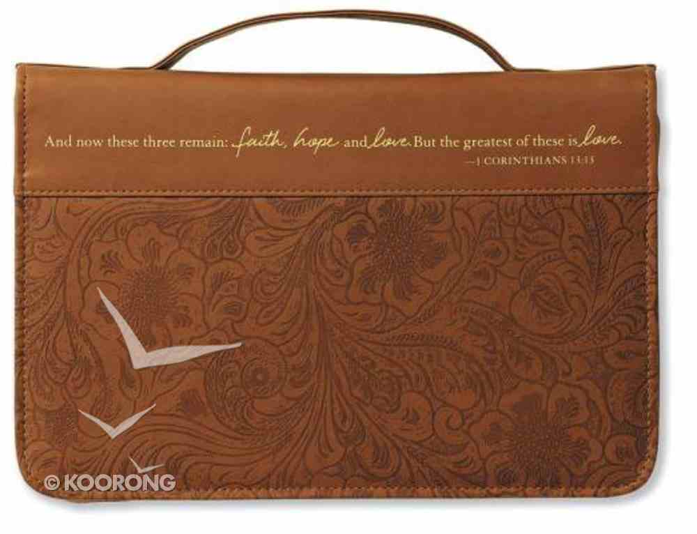 Bible Cover Faith, Hope, and Love Large Brown Bible Cover