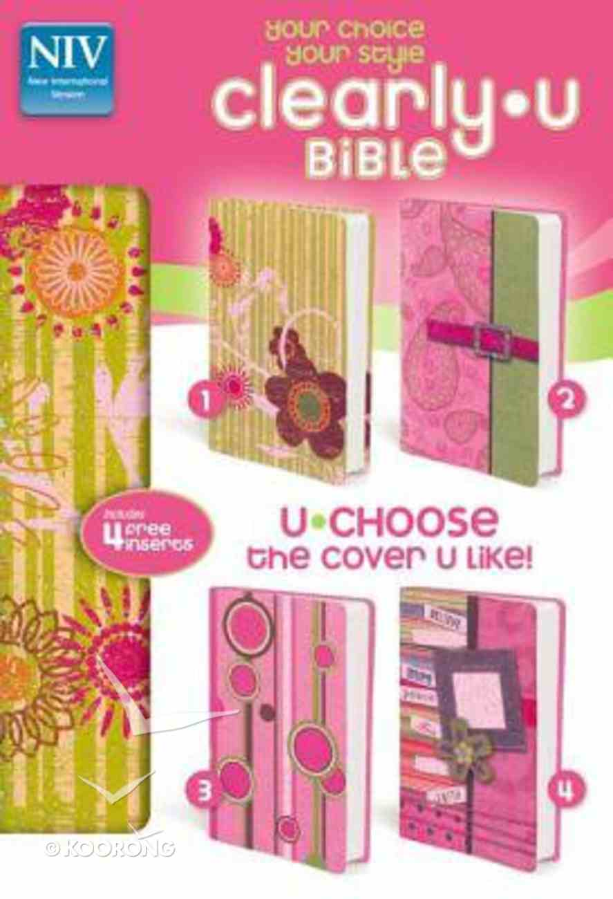 NIV Clearlyu Bible Pink Sparkle With 4 Colorful Cover Inserts (Red Letter Edition) Vinyl