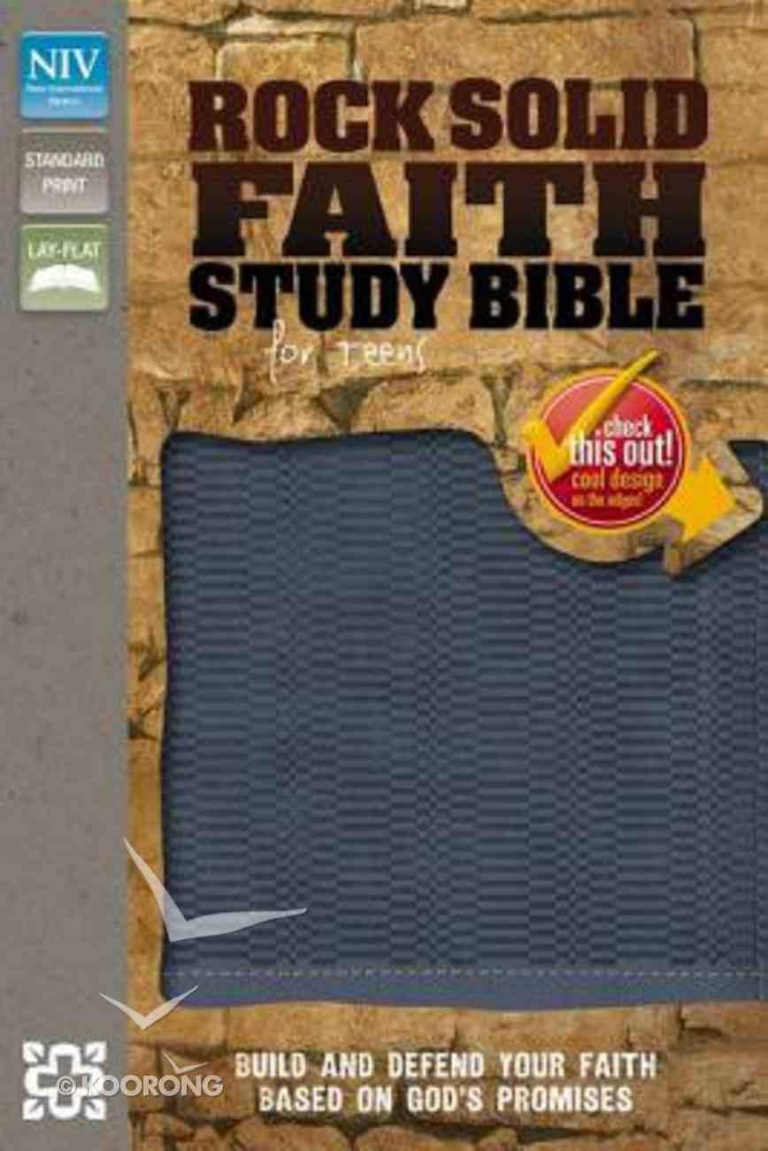 NIV Rock Solid Faith Study Bible For Teens Slate Blue (Black Letter Edition) Premium Imitation Leather