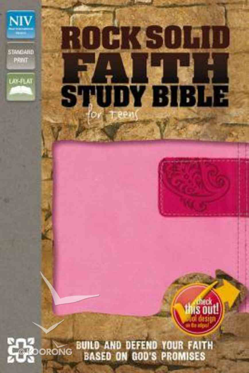 NIV Rock Solid Faith Study Bible For Teens Pink/Hot Pink (Black Letter Edition) Premium Imitation Leather