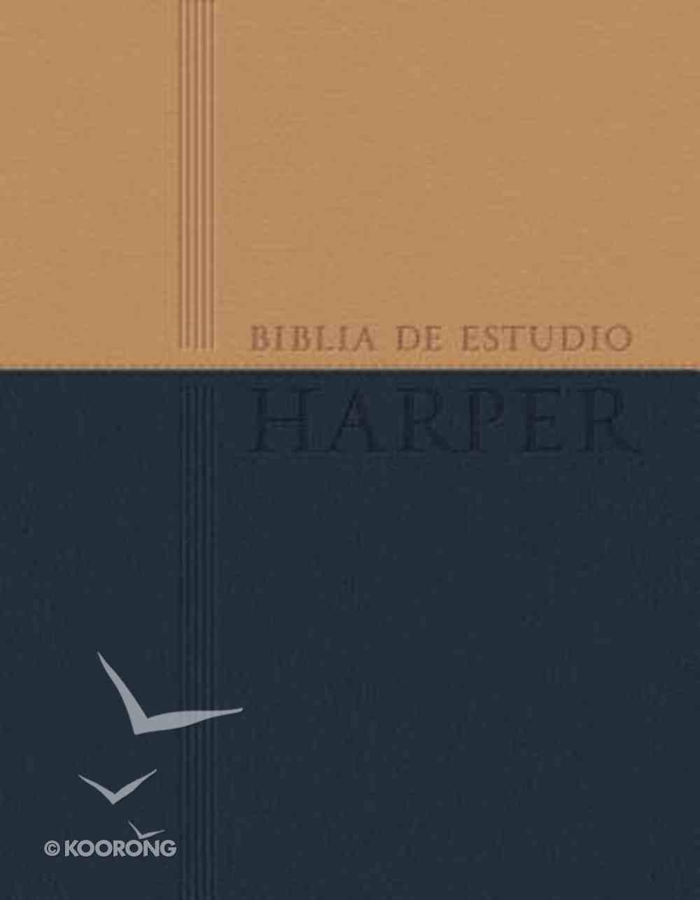Rvr 1960 Biblia De Estudio Harper Brown/Navy (Red Letter Edition) (Harper Study Bible) Premium Imitation Leather