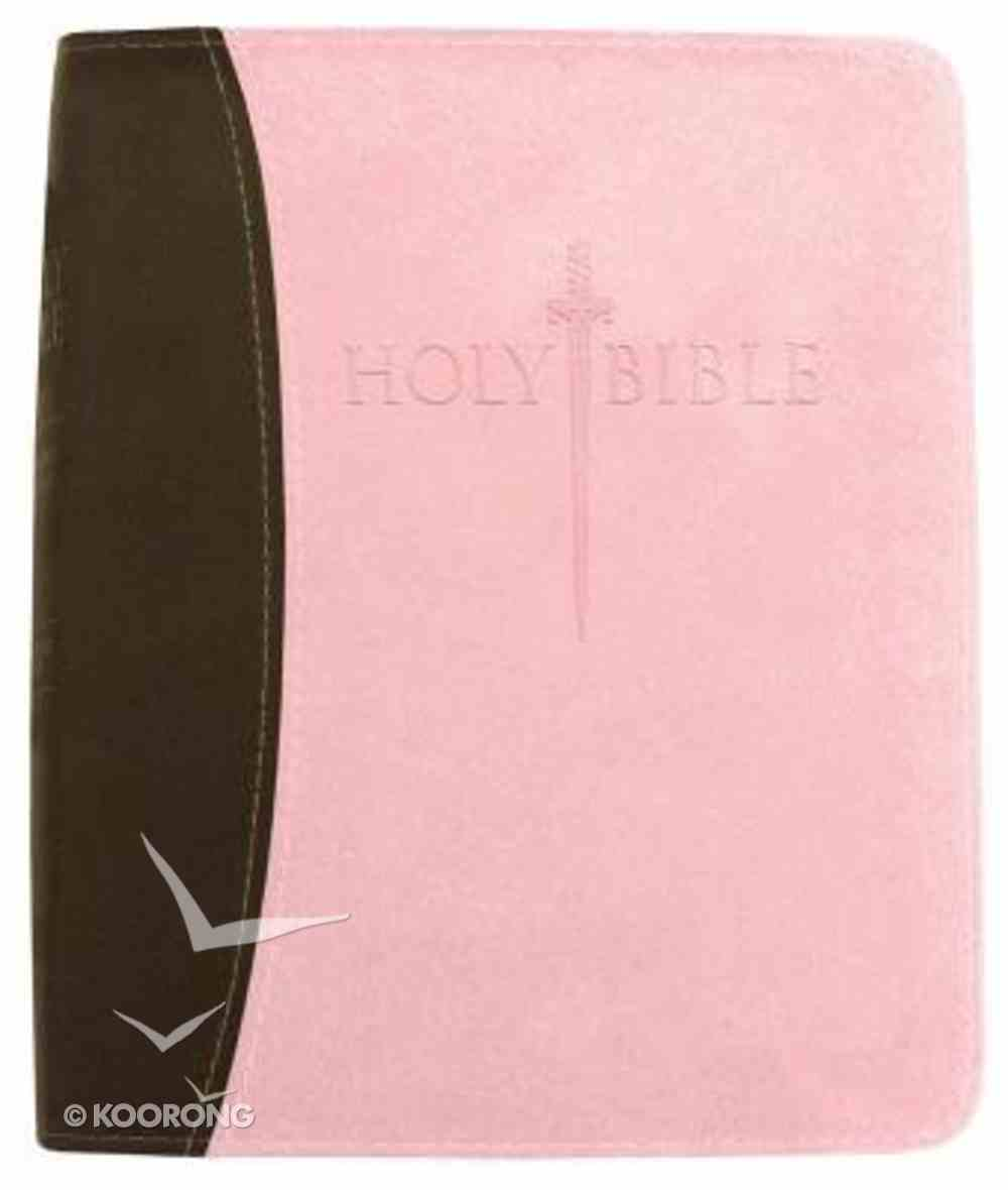 Kjver Sword Study Personal Size Large Print Chocolate/Pink Imitation Leather