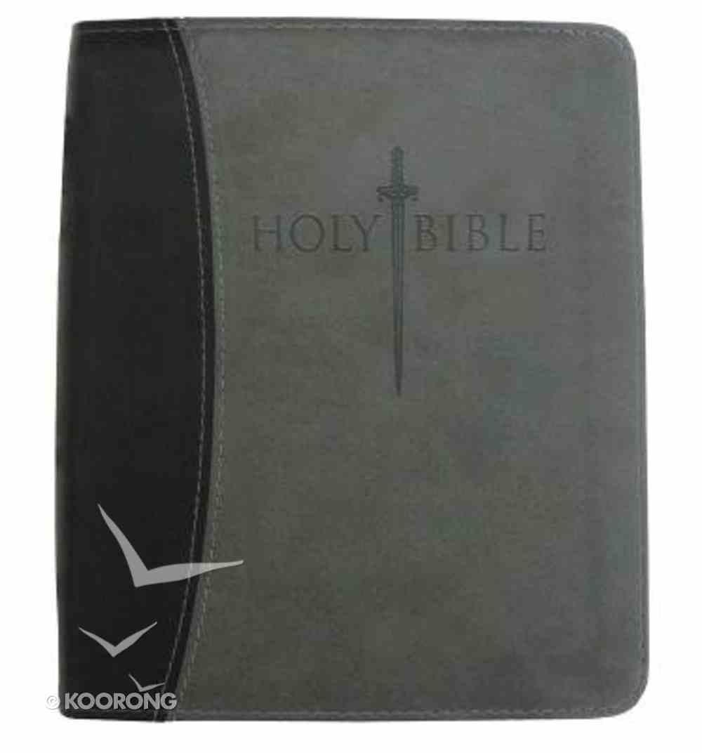 KJV Sword Study Personal Size Large Print Bible Black/Grey Imitation Leather