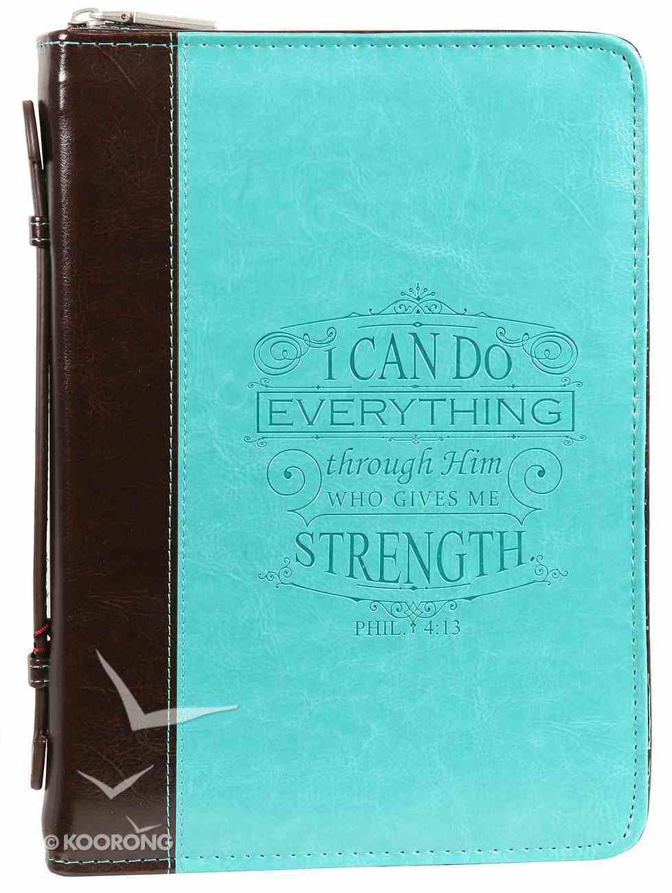 Bible Cover Medium I Can Do All Things Phil. 4: 13 Turquoise Debossed Luxleather Bible Cover