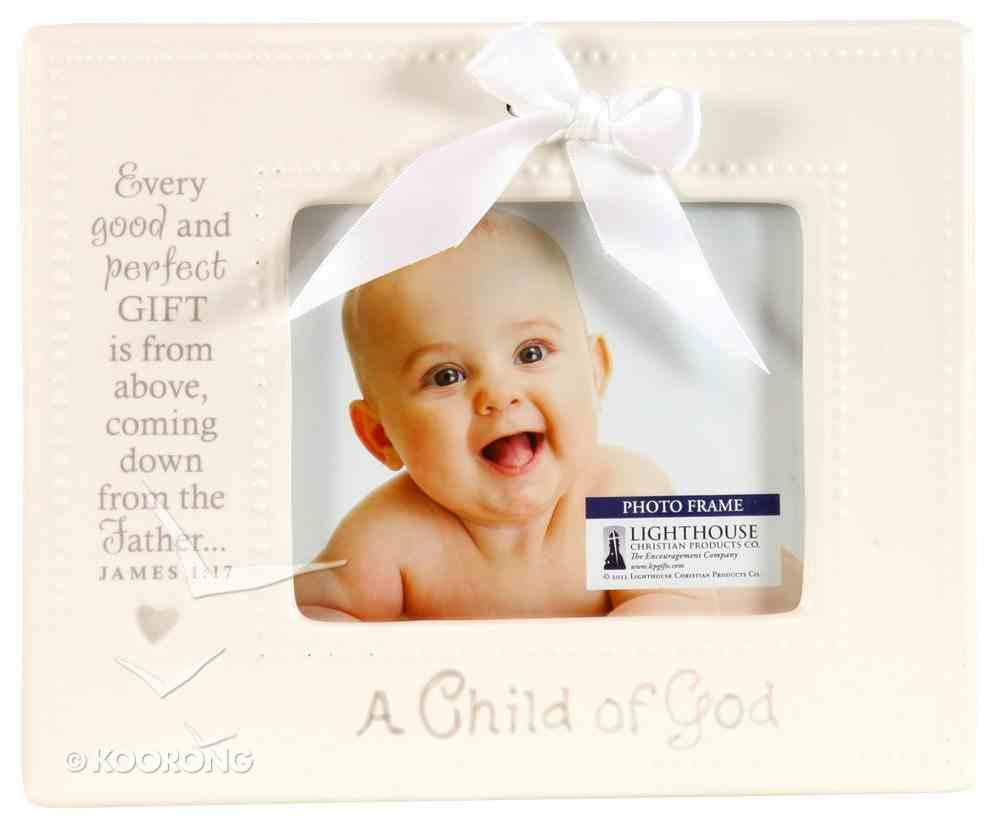 Ceramic Photo Frame: A Child of God, Cream With Bow (James 1:17) Homeware