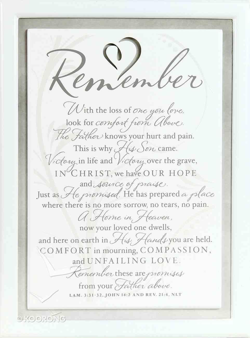 Plaque: Remember/Sympathy (15cm X 26cm) Plaque
