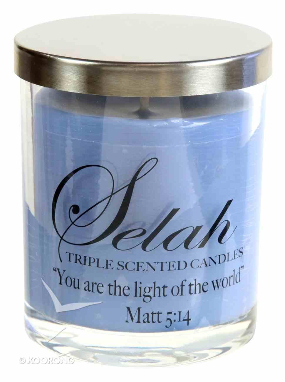 Selah Triple Scented Soy Based Candle: Cologne, Matt 5:14 Homeware