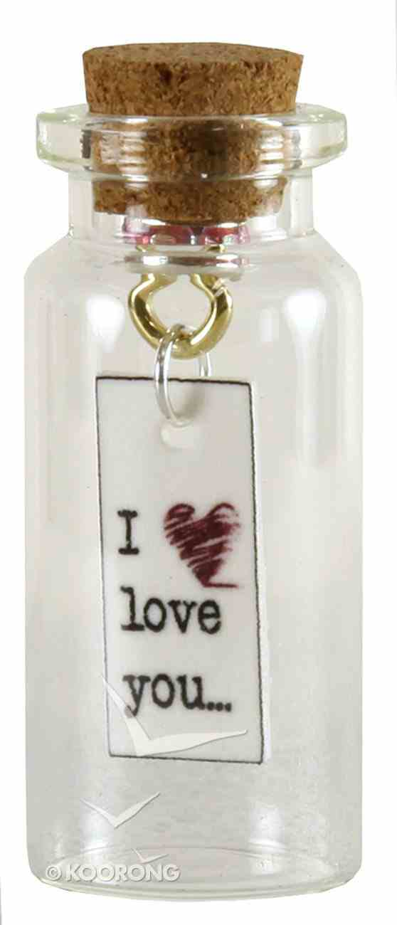 Tile Hanging in Small Bottle, I Love You.... (Red Heart) Homeware