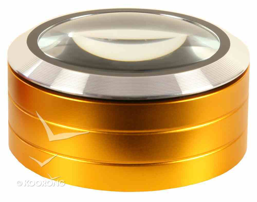 High Quality 3 Led Paperweight Magnifier With 5x Magnification Gold Stationery