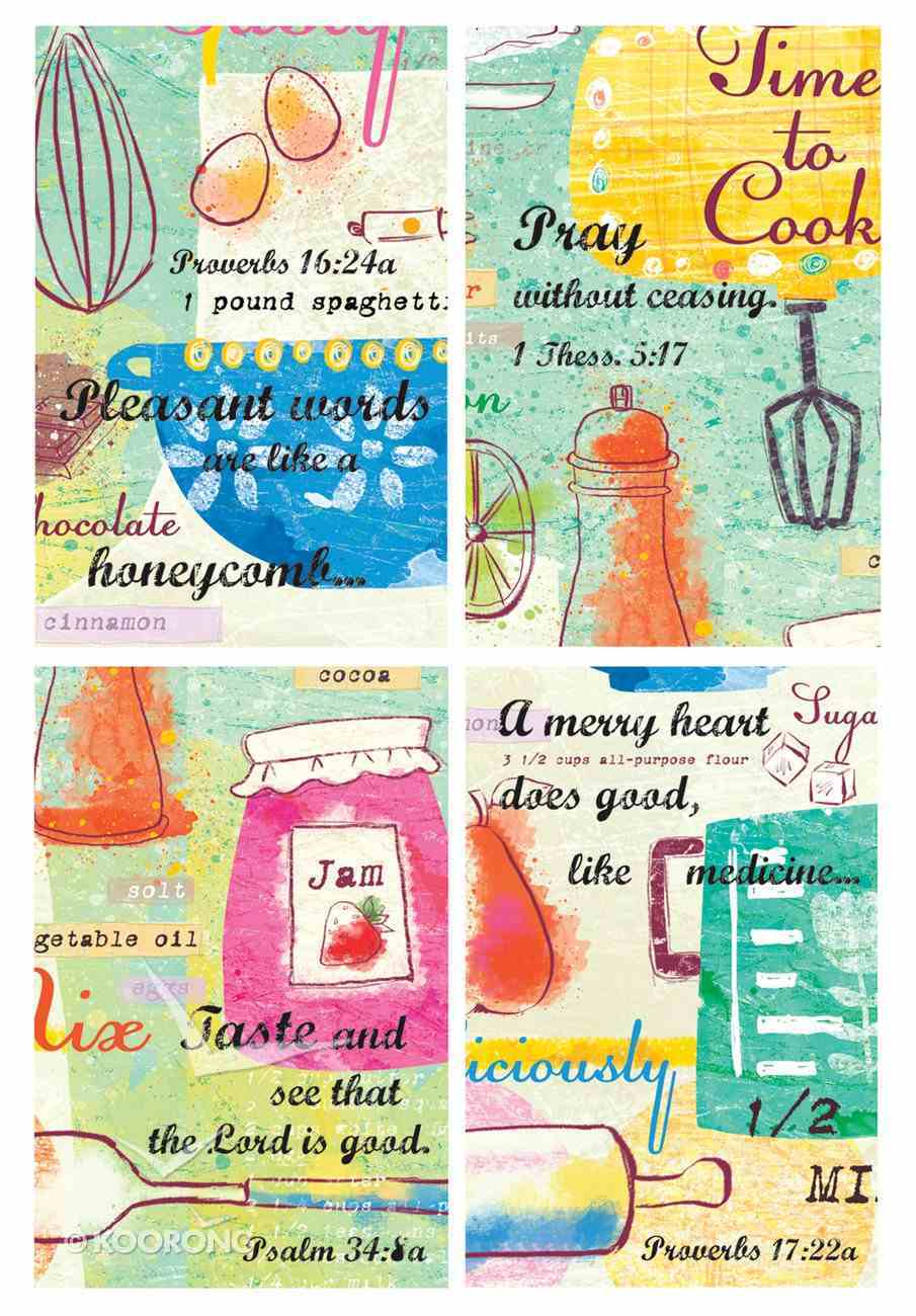 Notepad Set of 4: Food Series With Scripture Stationery