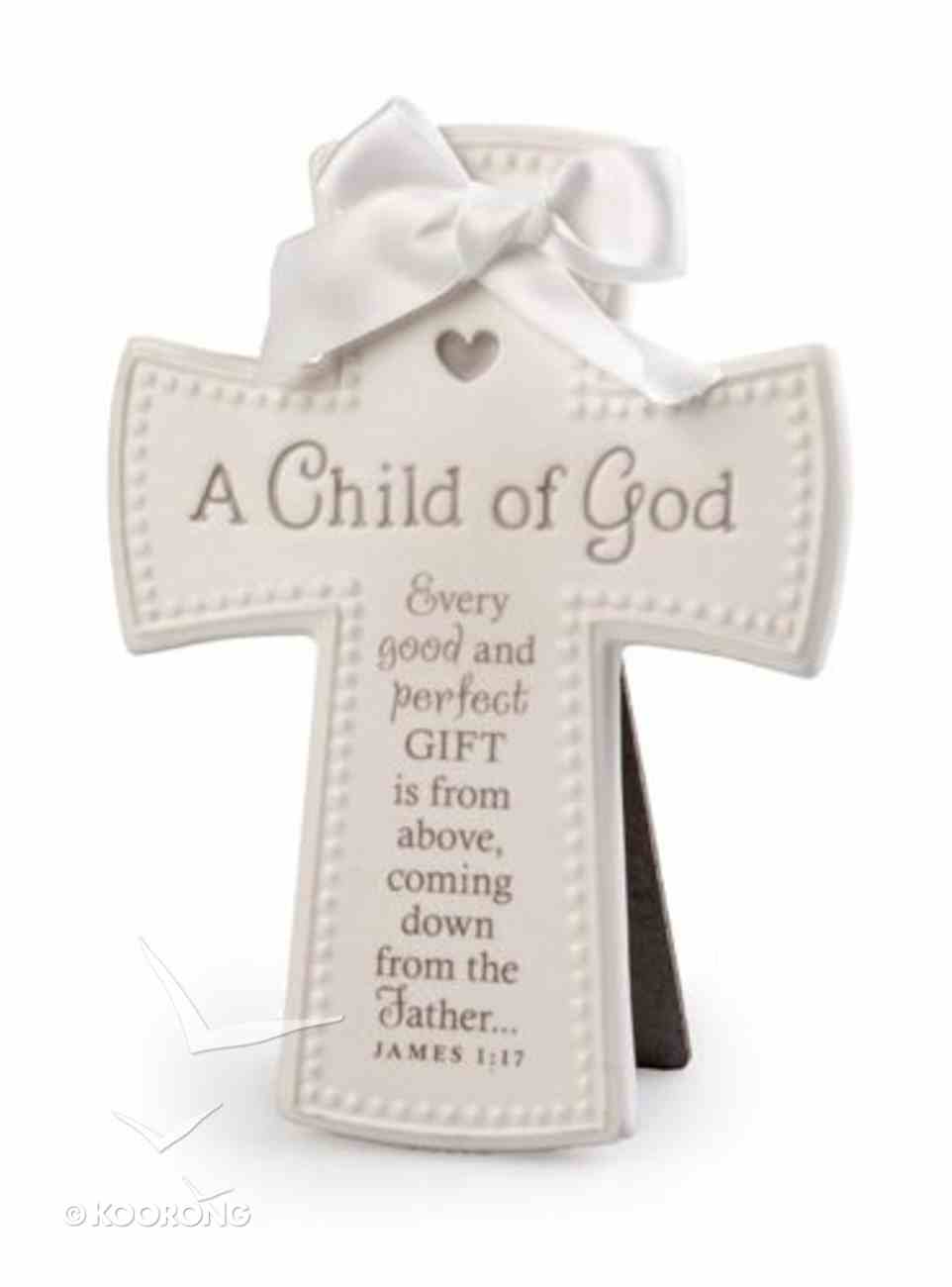 Cross Ceramic: Baby Child of God White With White Satin Ribbon (James 1:17) Plaque