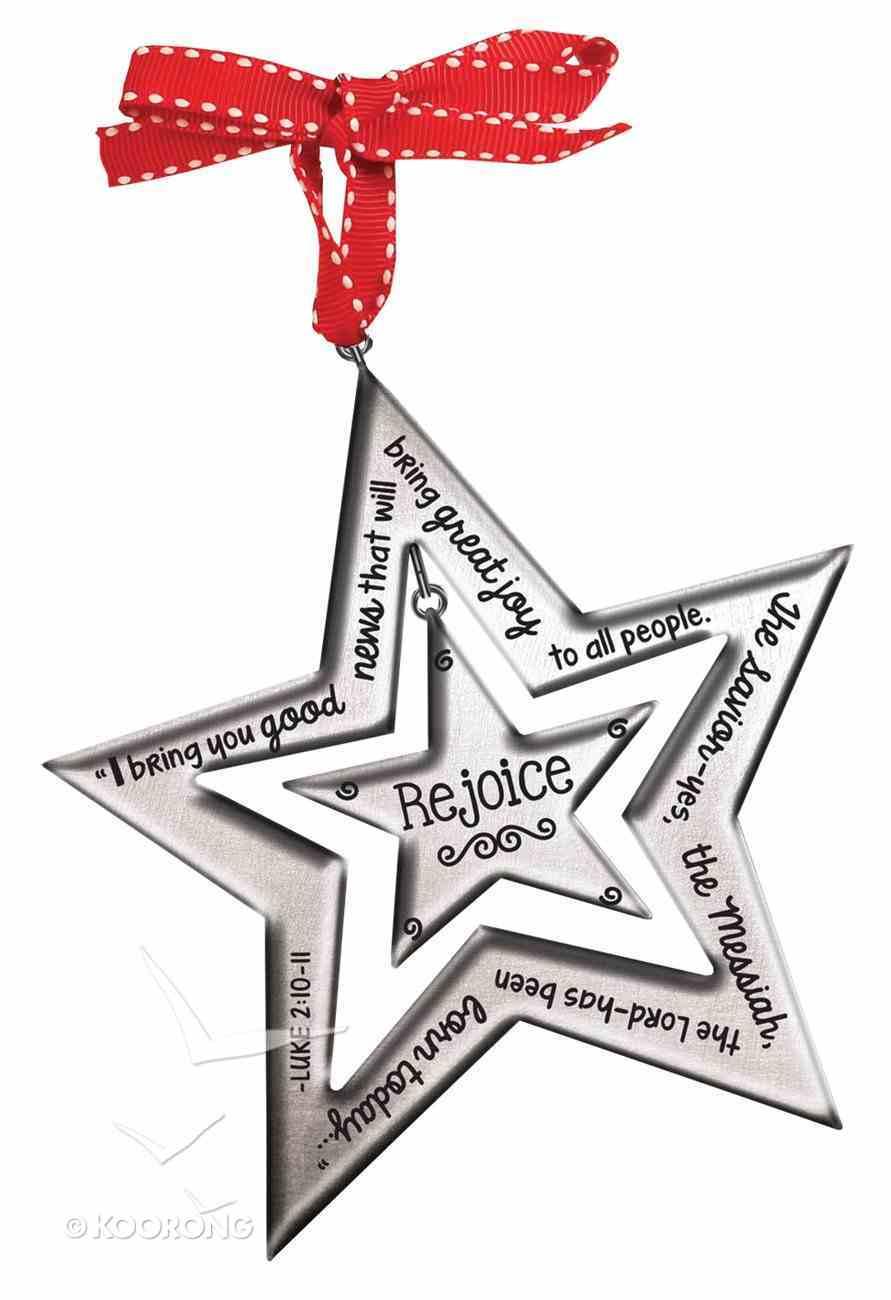 Christmas Silver Star Ornament: Rejoice (Luke 2:10-11) Homeware