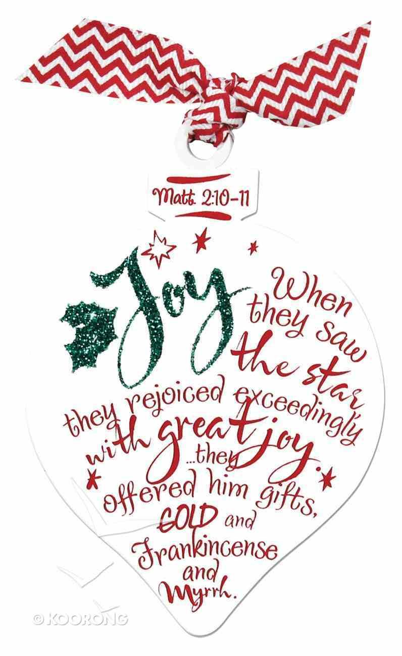 Christmas Red/White Ornament: Joy (Matthew 2:10-11) Homeware