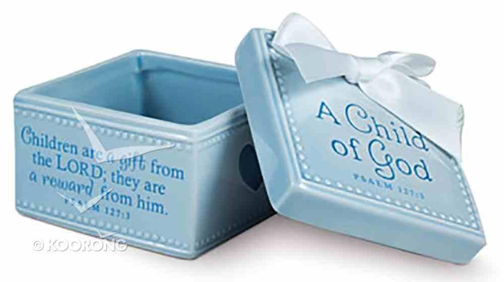 Baby Child of God: Keepsake Box Blue With White Satin Ribbon (Psalm 127:3) Homeware