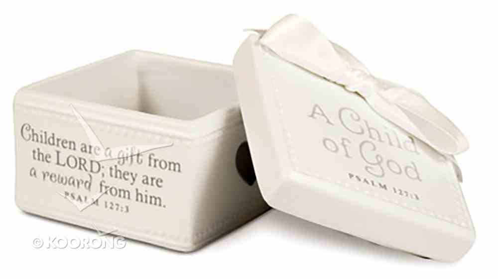 Baby Child of God: Keepsake Box White With White Satin Ribbon (Psalm 127:3) Homeware