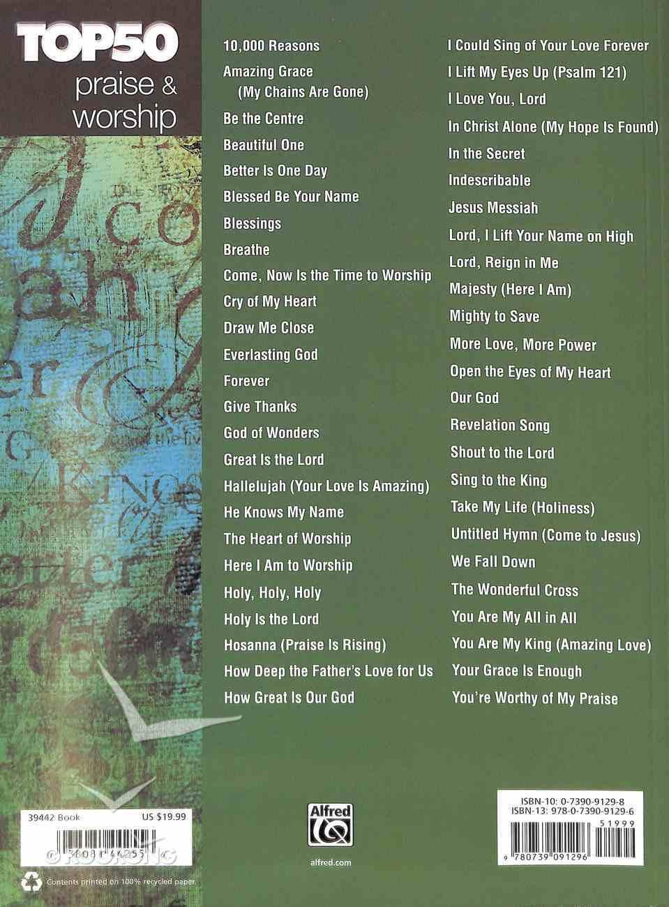 Top 50 Praise & Worship: Easy Piano (Music Book) Paperback