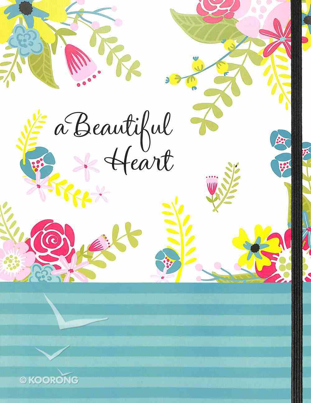 Notebook Journal: Beautiful Heart, a With Elastic Closure Flexi Back