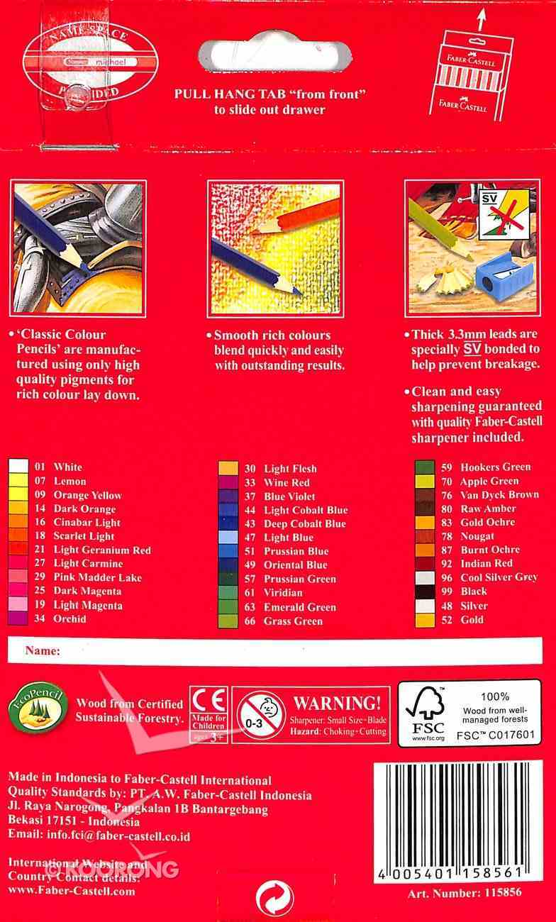 Faber-Castell Classic Colour Pencils Set of 36 + Bonus Sharpener Stationery