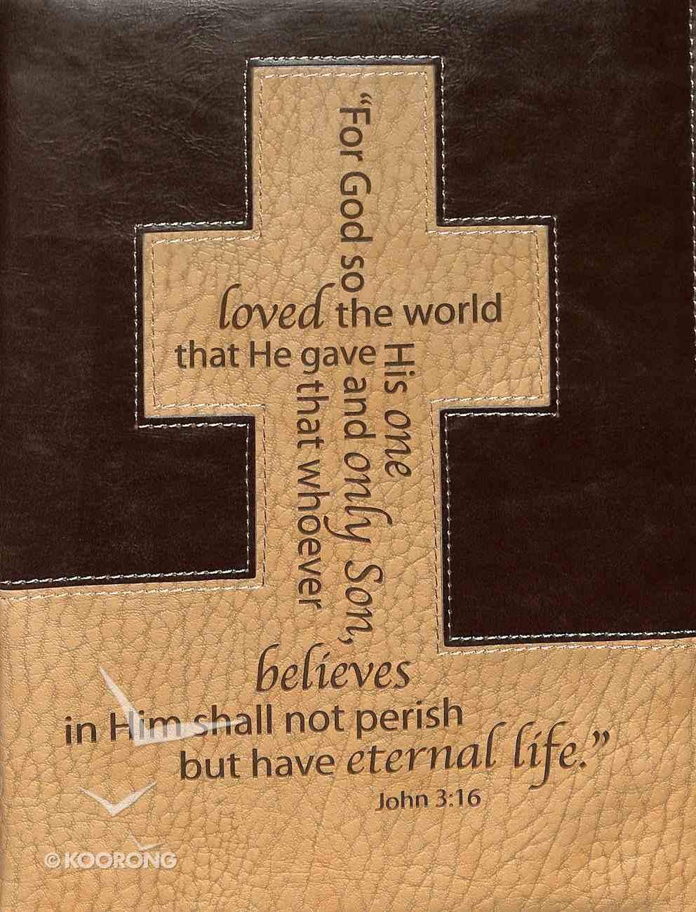 Bible Cover Classic Large: John 3:16 Cross Brown/Tan Bible Cover
