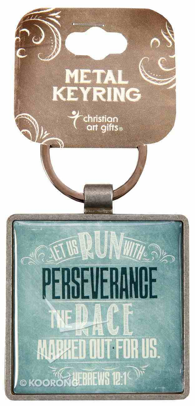 Metal Keyring: Finishing Strong: Let Us Run With Perseverance (Turquoise) Jewellery