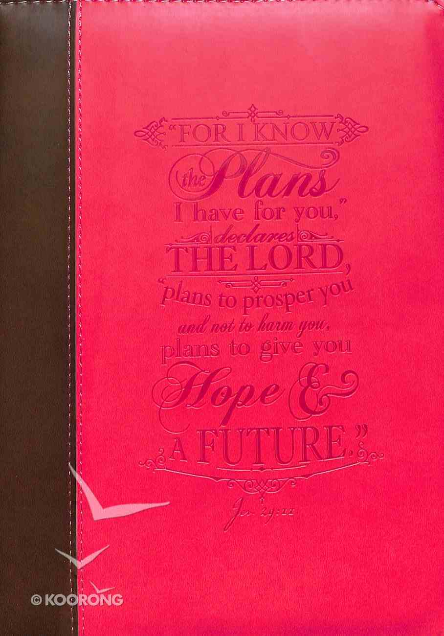 Bible Cover Medium I Know the Plans Jer 29: 11 Pink Debossed Luxleather Bible Cover