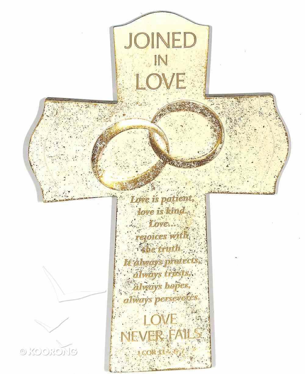 Cross Cast Stone: Joined in Love, 1 Cor 13:4, 6:7 Homeware