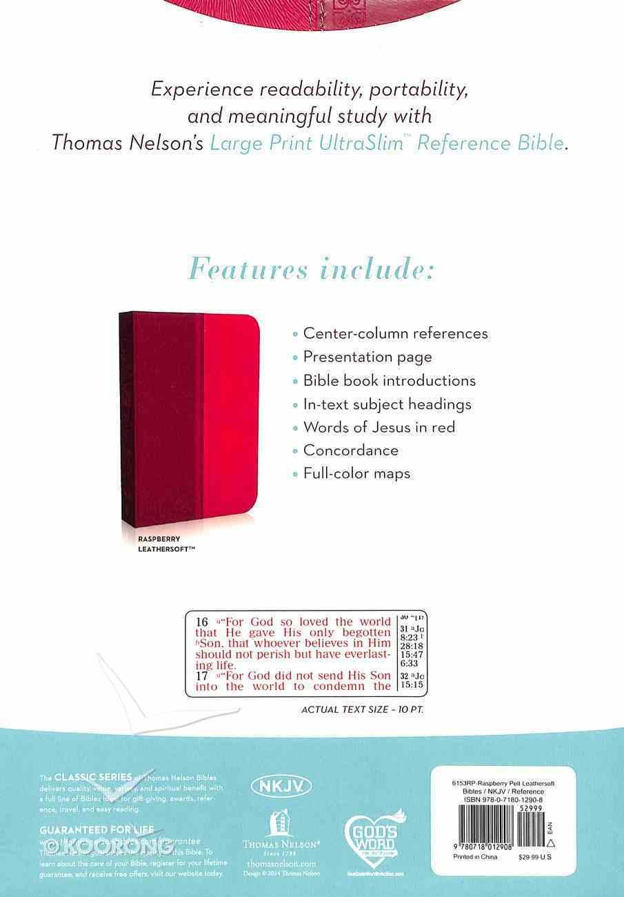 NKJV Large Print Ultraslim Reference Bible Dark Pink/Pink (Red Letter Edition) Imitation Leather