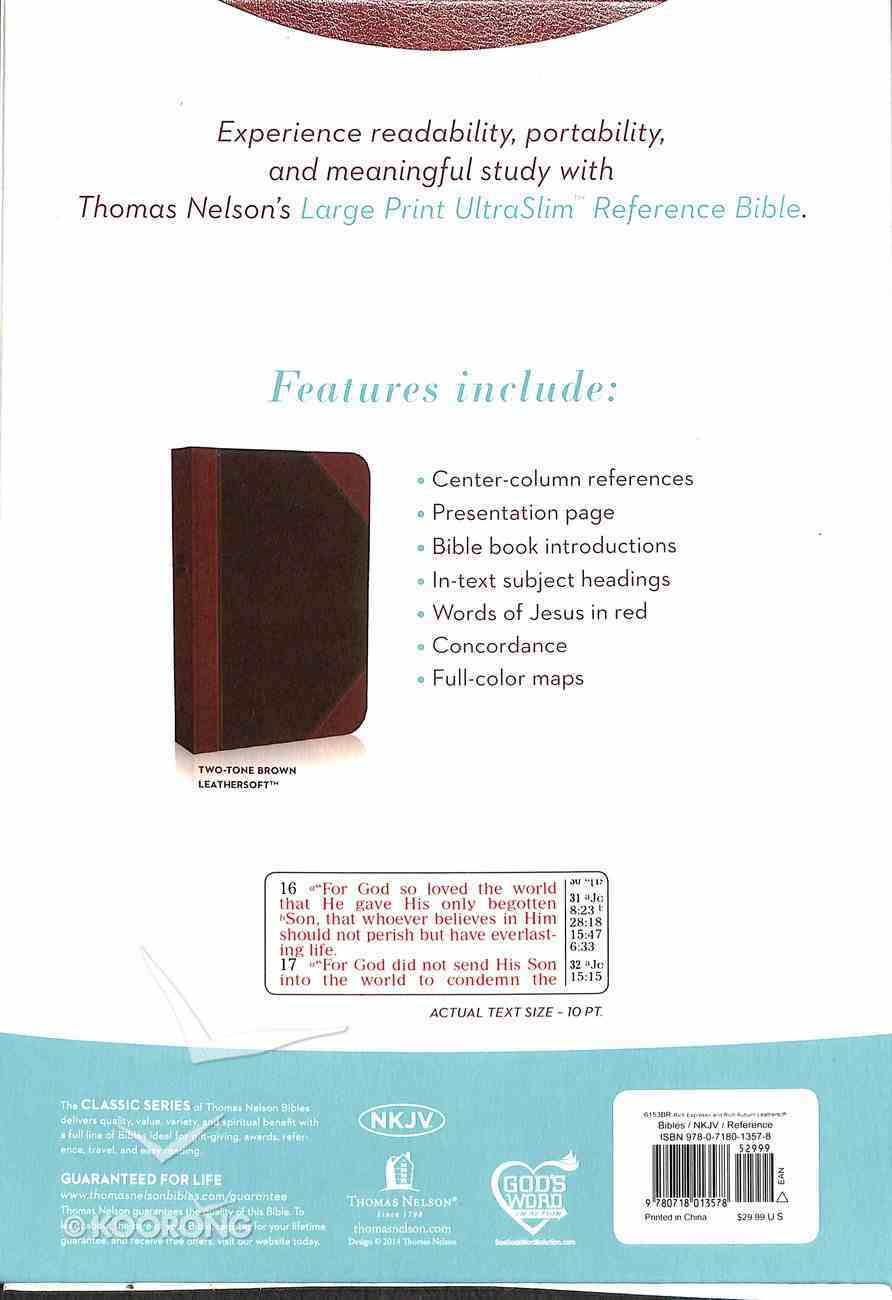 NKJV Large Print Ultraslim Reference Bible Brown/Dark Brown (Red Letter Edition) Imitation Leather
