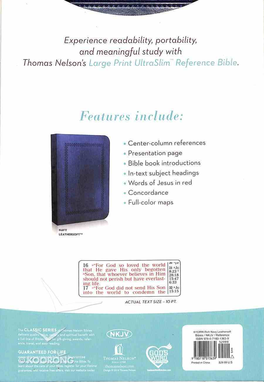 NKJV Large Print Ultraslim Reference Bible Navy (Red Letter Edition) Imitation Leather