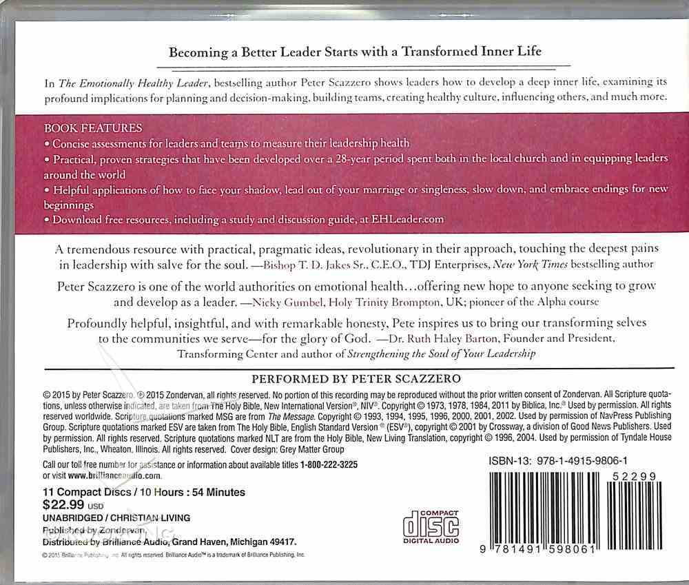 The Emotionally Healthy Leader (Unabridged, 7 Cds) CD