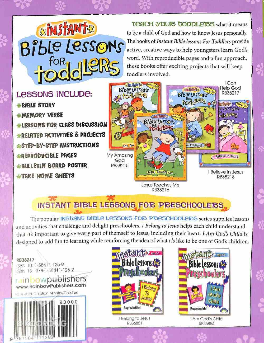 I Can Help God (Reproducible, Ages 1-3) (Instant Bible Lessons Series) Paperback