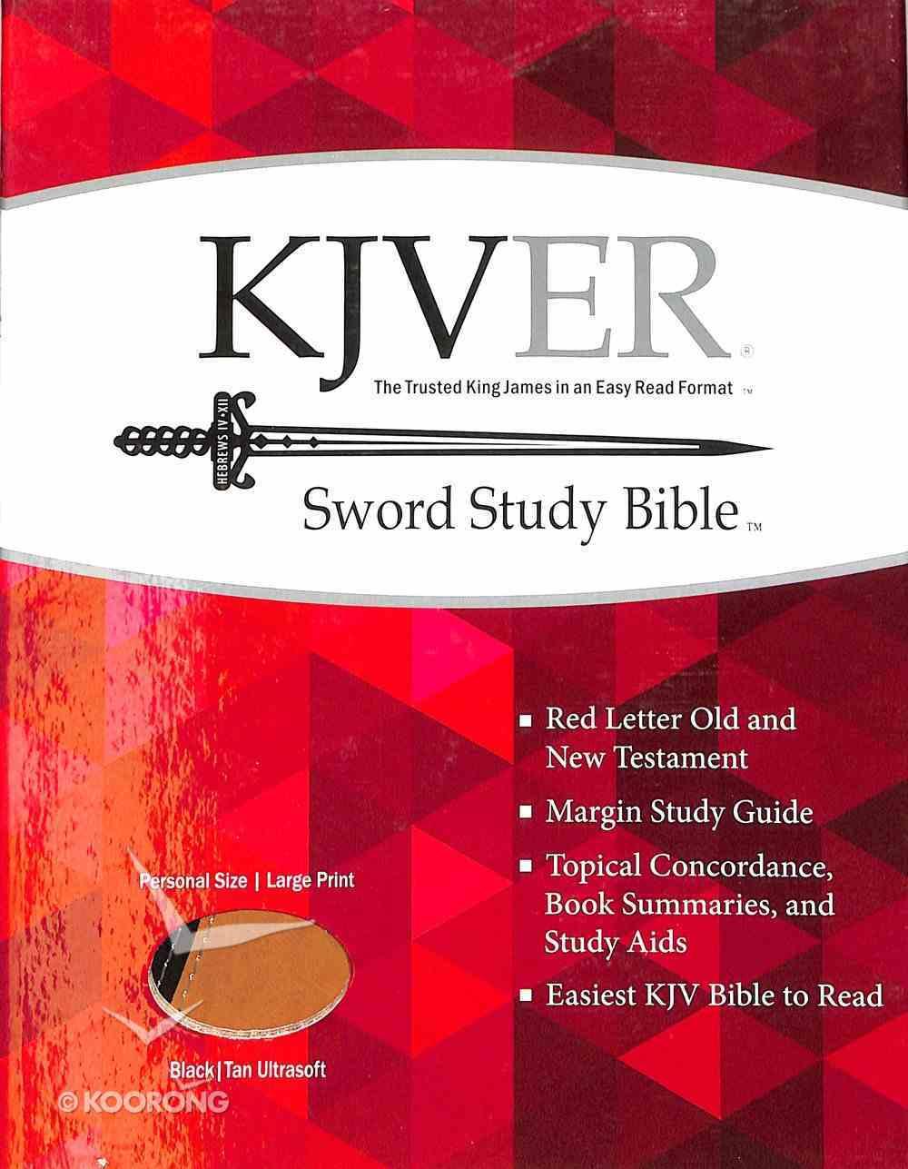 Kjver Sword Study Personal Size Large Print Bible Black/Tan Ultrasoft Imitation Leather