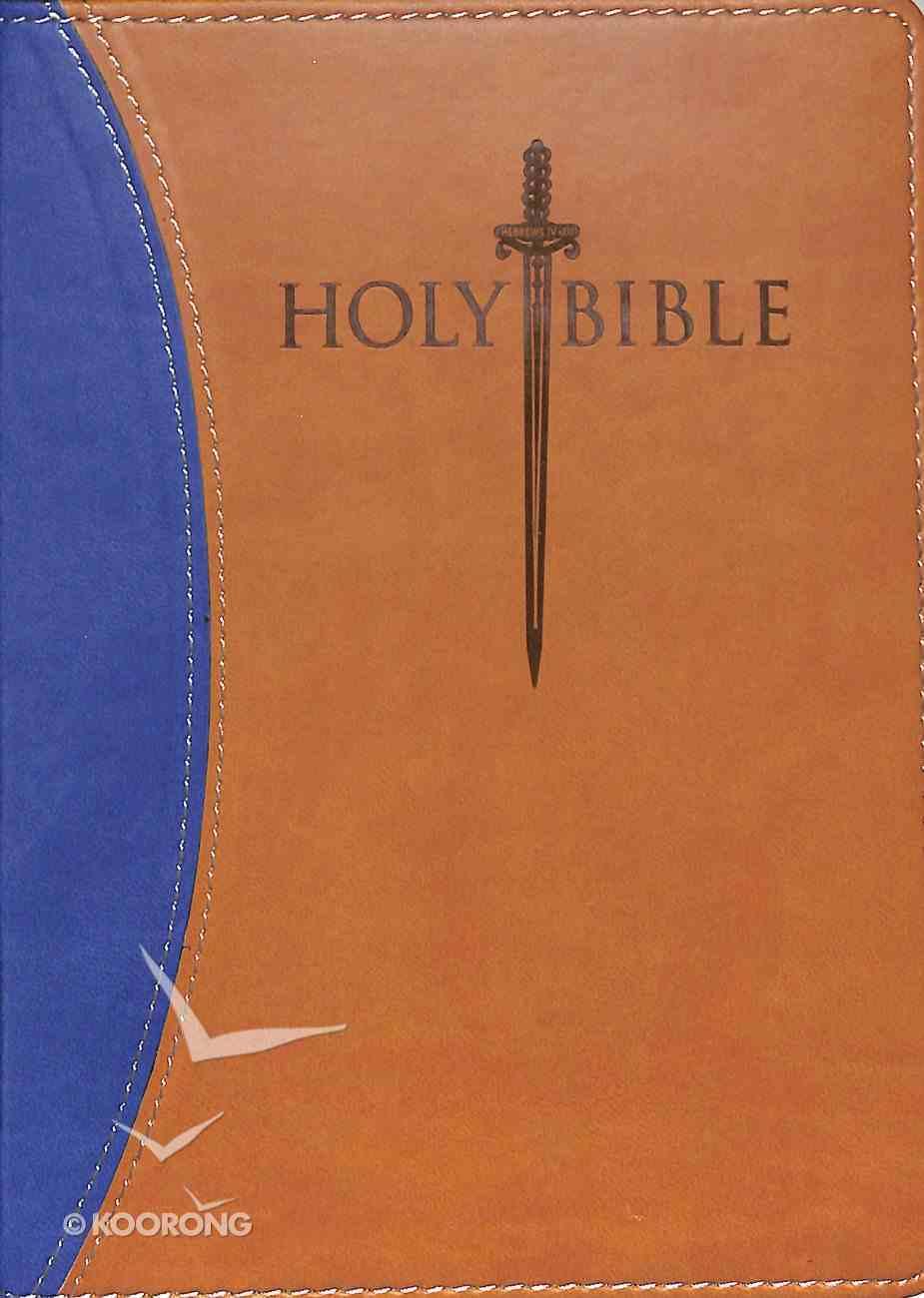 Kjver Sword Study Personal Size Large Print Bible Blue/Tan Imitation Leather
