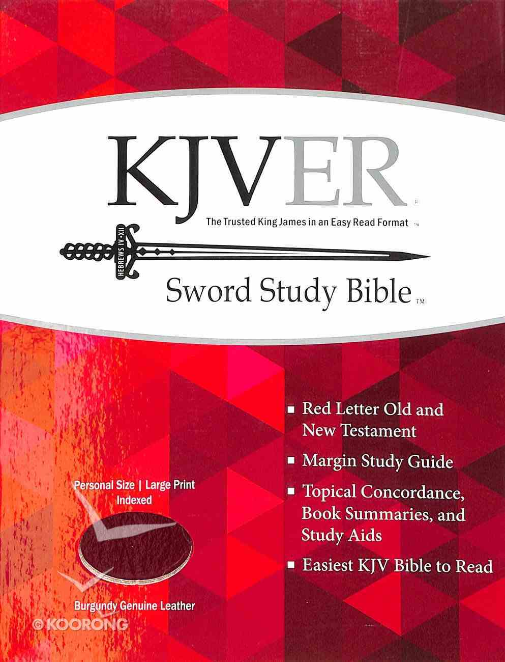 Kjver Sword Study Personal Size Large Print Indexed Genuine Burgundy Leather Genuine Leather