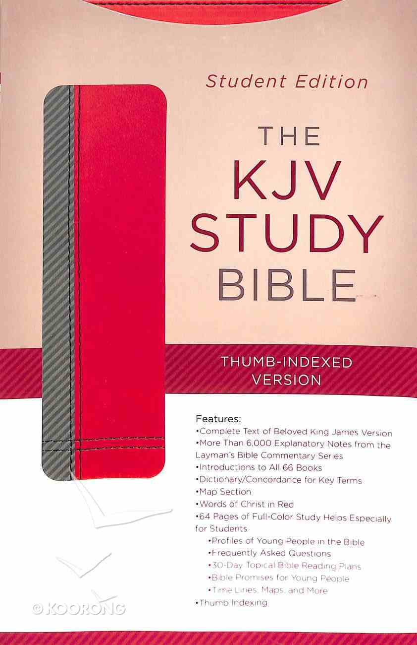 KJV Study Indexed Bible Student Edition Gray/Maroon Paperback