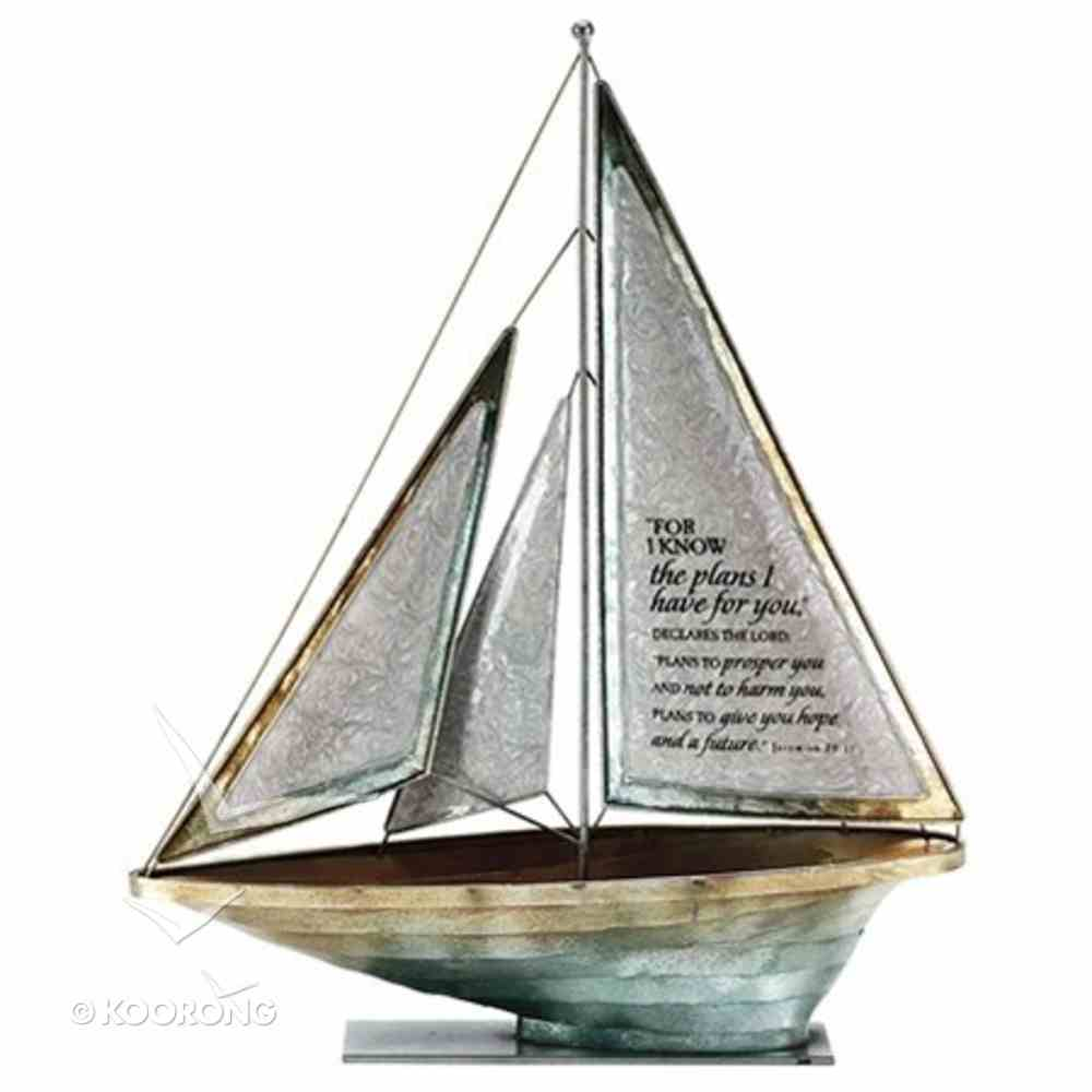 Sailboat Metal: For I Know the Plans.. Jeremiah 29:11 (White) Homeware