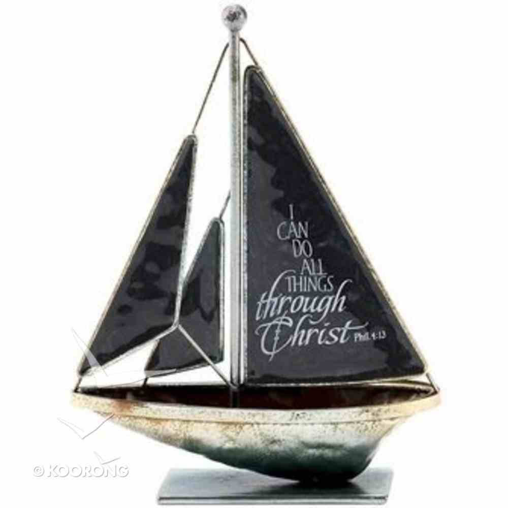 Sailboat Metal: I Can Do All Things.. Philippians 4:13 (Black) Homeware