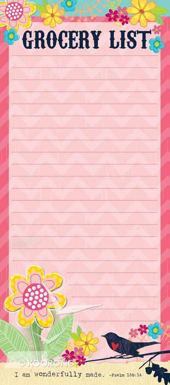 Magnetic Memo Pad: Grocery List, I Am Wonderfully Made, Psalm 139:14 Stationery