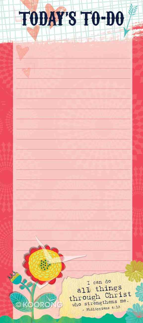 Magnetic Memo Pad: Today's to Do, I Can Do All Things, Philippians 4:13 Stationery
