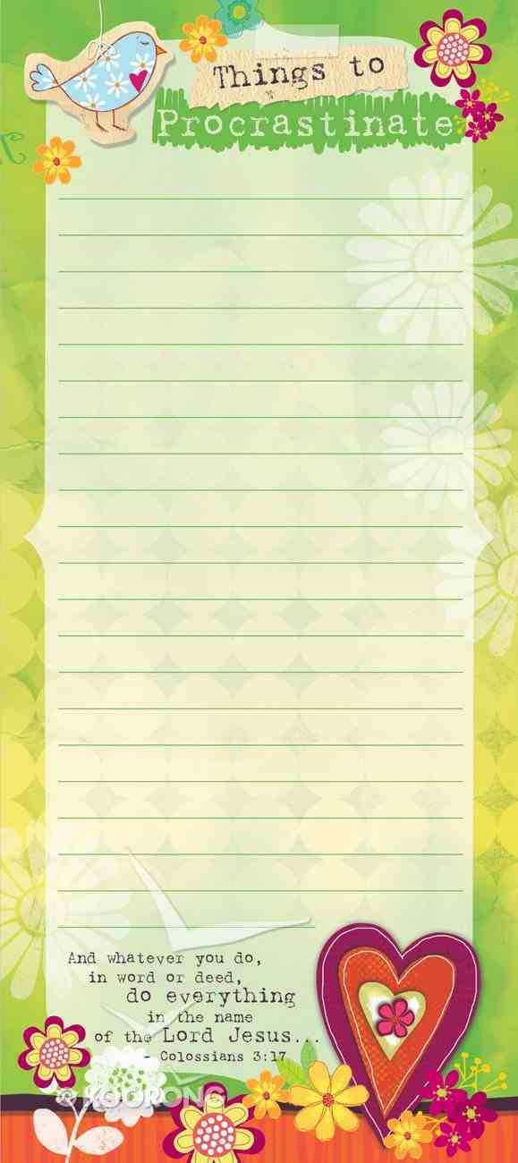 Magnetic Memo Pad: Things to Procrastinate, Colossians 3:17 Stationery