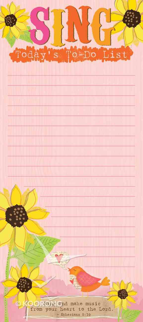 Magnetic Memo Pad: Sing Today's To-Do List, Sing and Make, Ephesians 5:19 Stationery