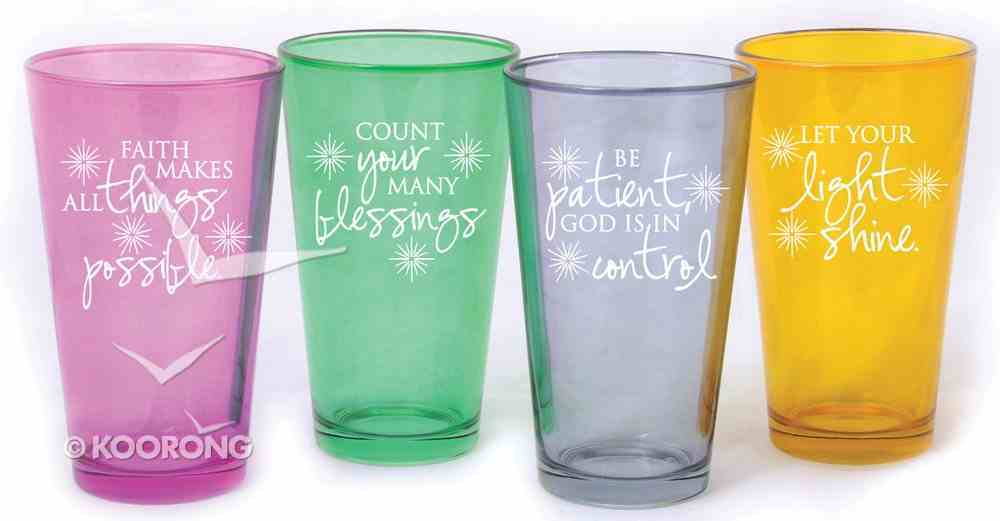 Set of 4 Colored Glass Tumblers: Faith Makes, Count Your, Be Patient, Light Shine Homeware