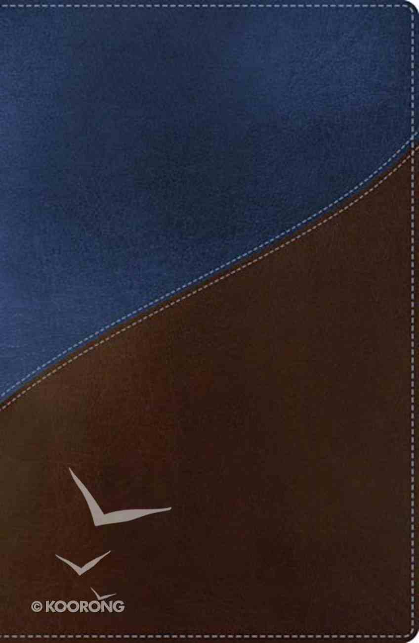 NKJV Giant Print Center-Column Reference Bible Blue/Brown Indexed (Red Letter Edition) Imitation Leather