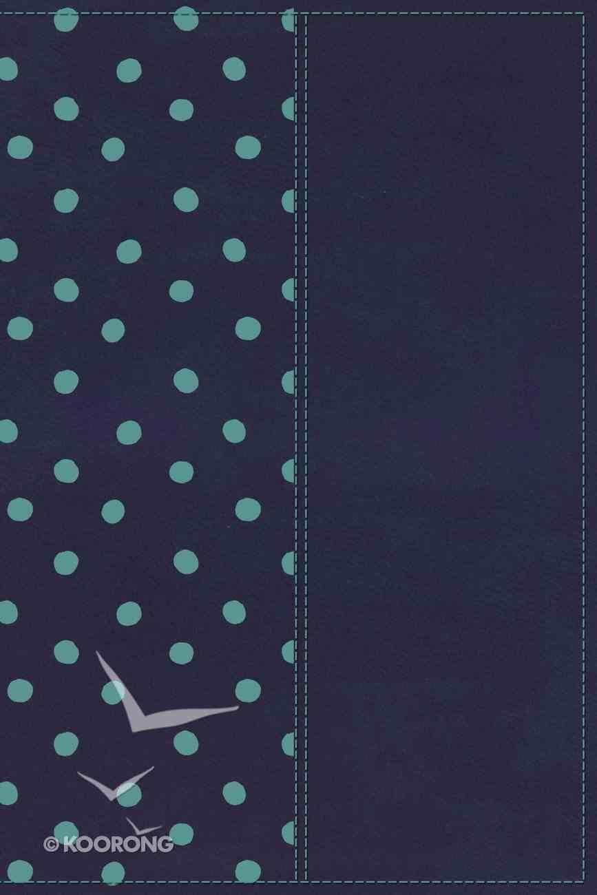 KJV Gift Bible Navy/Turquoise Polka Dot Premium Imitation Leather